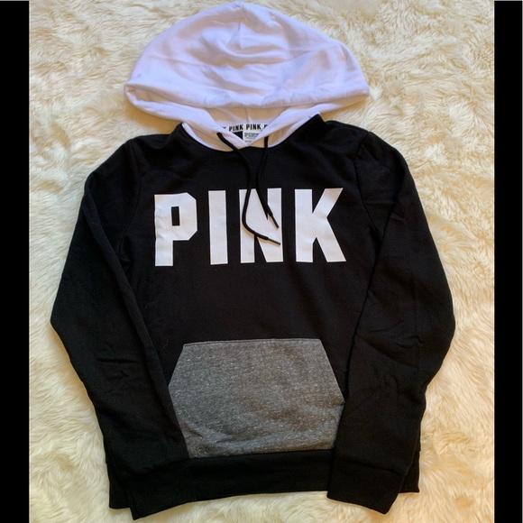 Pink Victoria\u2019s Secret Black White \u0026 Grey Hoodie